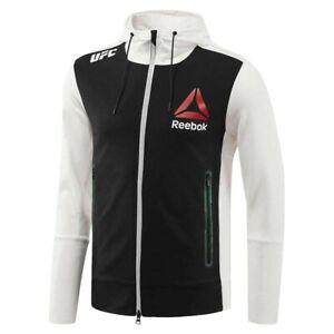 Reebok Official UFC League Fight Kit Full Zip Walkout Hoodie Chalk Black Green