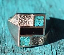 Vintage Sterling Silver Men's Southwestern Inlay Ring (size 12.5)(9g)