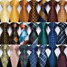 USA Classic Checks Silk Mens Tie Necktie Blue Black Gold Pink Yellow Wedding Set