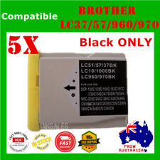 5x Ink Cartridge Black Only LC970 LC37 LC57 For Brother DCP 330 560CN MFC 885CW