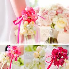 Wedding Party Wrist Pearl Corsage Bracelet Bridal Bridesmaid Hand Wrist Floral