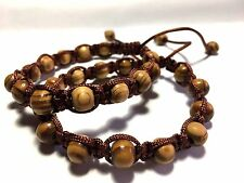 Shamballa Pine Wood Bracelet Men's & Woman's 6.5 to 7 inch - Design by Susie