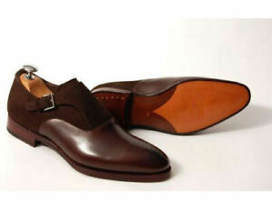 Handmade Men brown suede and leather formal shoes, Men brown monk dress shoes