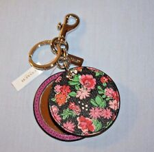 COACH FLORAL DISC MIRROR KEY FOB CHAIN CHARM PURPLE & PINK FLORAL F58500 NEW