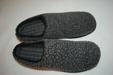 Mens GRAY LOW BACK SLIPPERS Wool Like Outer SLIP ON Rubber Soles M 9-10