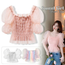 Women Rainbow Mesh T Shirt Blouse Puff Sleeve Off Shoulder Lolita Fairy Tops
