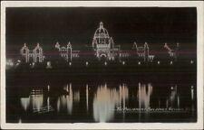 Victoria BC Parliament Bldgs at Night c1920 Tinted Real Photo Postcard