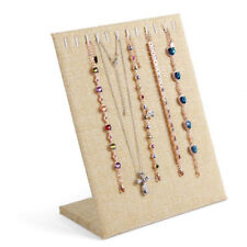 11 Slots Linen Necklace Chain Bracelet Display Stand Board Jewelry Holder Rack