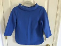 Woman's Talbots size 6 petite blue textured embellished cotton blend top