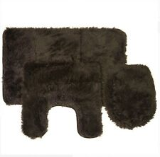 Fluff 3 Piece Faux Fur Bathroom Rug, Contour and Lid Cover Set CHOCOLATE