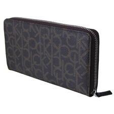 Calvin Klein Women Zip Around Brown Leather Ck Printed Logo Wallet 79468