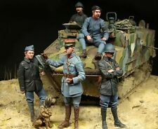 1 35 scale resin model figures kit  WW1 French tank crewman BIG SET 5 figures