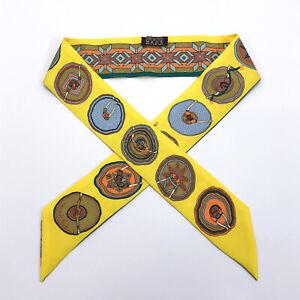 HERMES scarf Twilly Ballerina pattern silk multicolor Women
