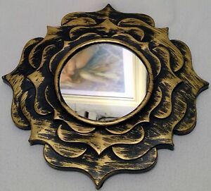 """Gold flower mirror 9"""" home wall decoration plastic new a81"""