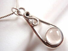 Rose Quartz Necklace w/ Infinity Symbol Means Forever Love 925 Sterling Silver