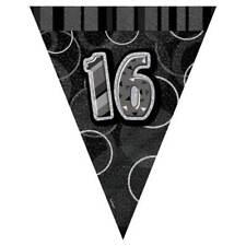 Black Silver Glitz 16th Birthday Flag Banner Bunting 12ft Long - New & Sealed