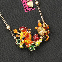 Colorful Enamel Crystal Mushroom Snake Pendant Betsey Johnson Chain Necklace