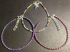 SILVER BEAD BRACELET, Sterling silver beads + AMETHYST, RUBY or RAINBOW *19cm*