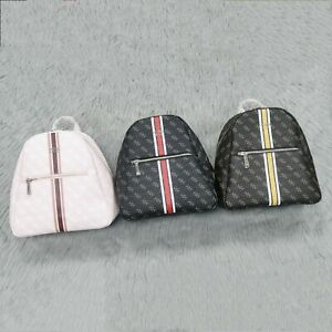 Women's printed backpack letter large capacity backpack faux leather backpack
