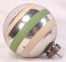 Antique Christmas Ornament Mercury Glass Ball Green White Stripes Silver #395