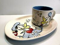 Disney Donald Duck Sandwich & Mug Plate Soup Cup Salad Set VERY RARE Vintage