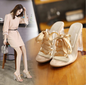 Womens Sexy Transparent Block Heels Peep Toe Lace Up Sandals Slippers Shoes