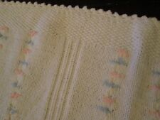 Vintage Baby Blanket Acrylic Thermal Waffle WEAVE Knit Security Pink Blue White