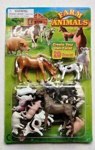 20 pcs. Plastic Mini Farm Animals Figures Horse Pig Sheep Dog Cow Toy Diorama