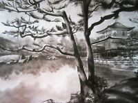 Japanese lake Tree - Black And White Landscape Wall Art Poster & Canvas Pictures