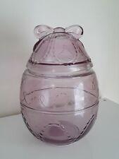 VTG ORIG RARE ANCHOR HOCKING PURPLE GLASS EASTER EGG W/BOW & STICKER COOKIE JAR