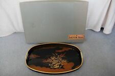 Vntg Japan Black & Gold Lacquer Ware Rectangular Tray Wrapped Handles NIB