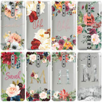 DYEFOR PERSONALISED FLORAL TRANSPARENT & NAME PHONE CASE COVER FOR NOKIA