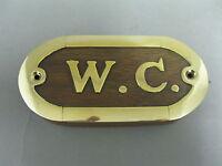 Messing Edelholz  WC Schild  10 cm x 5 cm für die Yacht  oder Edel WC