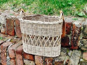 GORGEOUS RATTAN TALL OVAL FLOWER/FORAGING BASKET WITH LEATHER HANDLE  SUPER CUTE