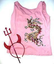 Faschingskostüm Top Shirt mit Pailletten Perlen Drache Dreizack Teufel -Set Horn
