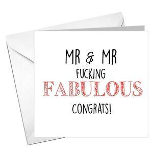 Gay Wedding, Civil Partnership, Mr & Mr F*%#@ing Fabulous, Marriage Card LGBT