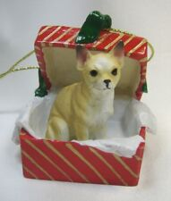 Tan Chihuahua Dog Figurine X-mas Gift Box Dog Ornament