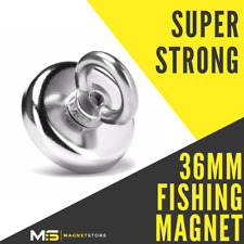 Super Strong Neodymium Recovery Fishing Magnet 36mm 30kg / 66lbs pull Eyebolt