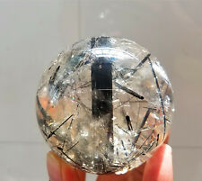 "Natural Magic Quartz Crystal Sphere Ball Black Tourmaline ""Indomitable spirit"""
