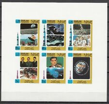 Sharjah, Mi cat. 701-705 B. History of Space, #3 IMPERF sheet.