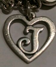 James Avery J Initial Letter Heart Sterling Silver Charm Rare