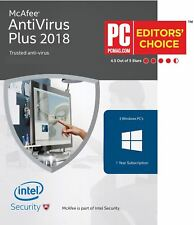 McAfee AntiVirus Plus 2018, 1 Year, 3 PC's Global Activation, email Delivery