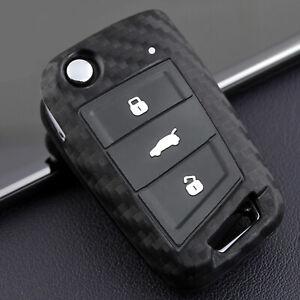 Carbon Fibre Look Key Cover Case Fob for VW Golf 7 Seat Skoda Flip Key Remote