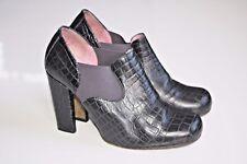 JOHN FLUEVOG U HEEL BOOTIES Black Croc Embossed Slip On Pumps Shoes Vogs 6
