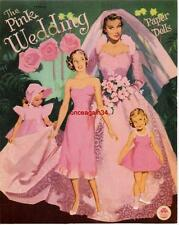 Vintage Uncut 1952 Pink Wedding Paper Dolls~#1 Reproduction~Made From Original!