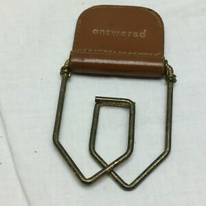 Vintage Office Paper Clip Leather Marked Answered Spring Loaded