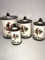 1955 Metlox Poppytrail Rooster Cannister Set MCM Eames Era Atomic Kitchen Cool