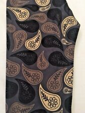 New LuLaRoe OS Leggings Floral Paisley Black Brown Cream On Gray Background HTF