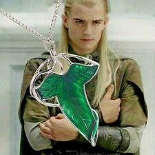 Collar Broche Elfos Hoja Verde Hobbit Lotr Señor de los Anillos Lorien Esmalte Pin