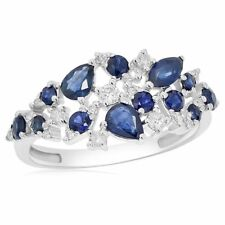 Pear Marquise Right Hand Cocktail Ring 14K White Gold Pave Blue Sapphire